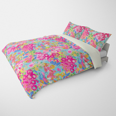 FLORAL DUVET COVERS & BEDDING SETS JARDIN PINK AQUA YELLOW - FLOWER DESIGN - HYPOALLERGENIC