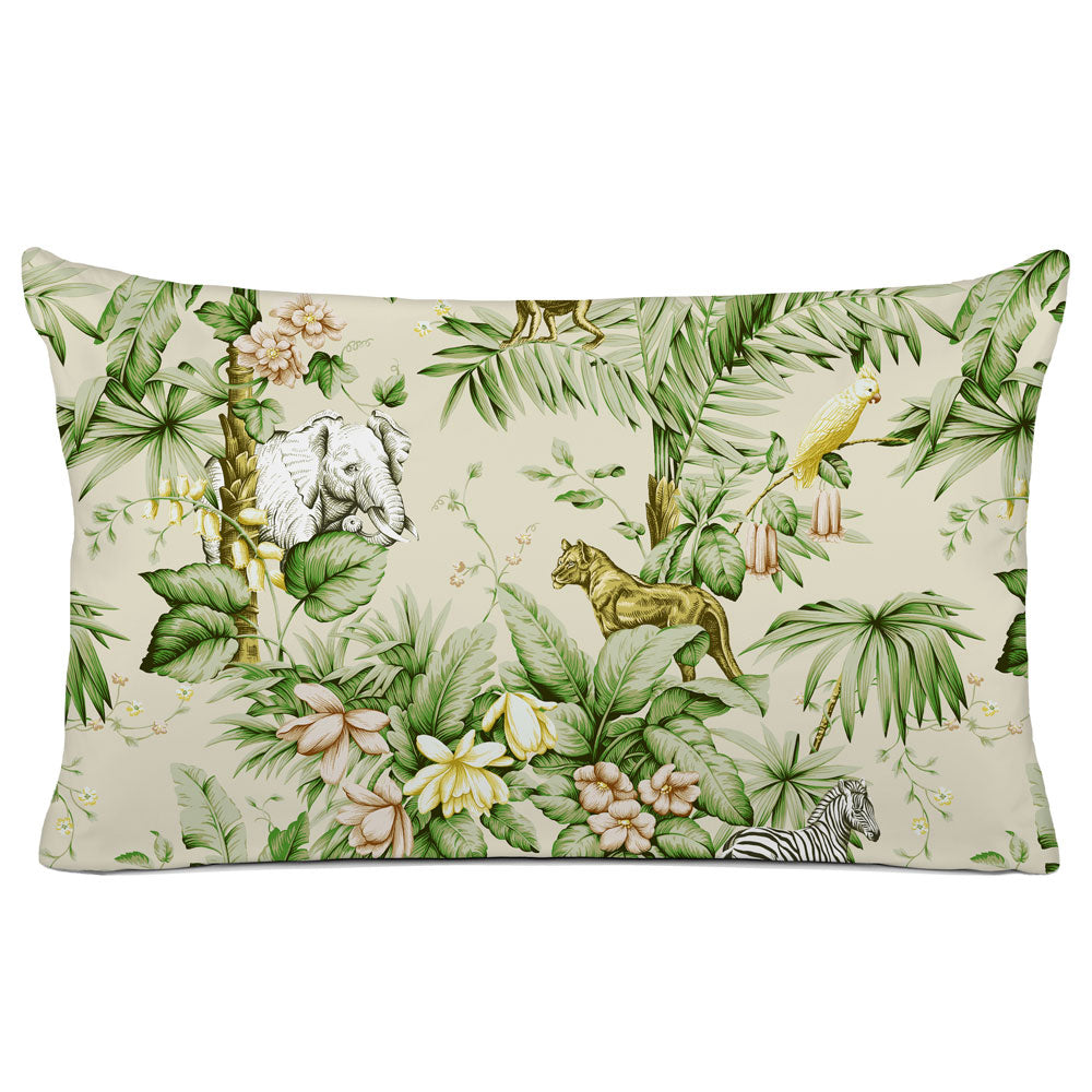 DECORATIVE PILLOW SHAM - BEDDING - ZAMBIA PALM GREEN - ANIMAL DESIGN