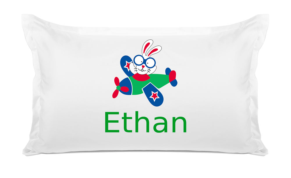 Bunny Airplane - Personalized Kids Pillowcase Collection