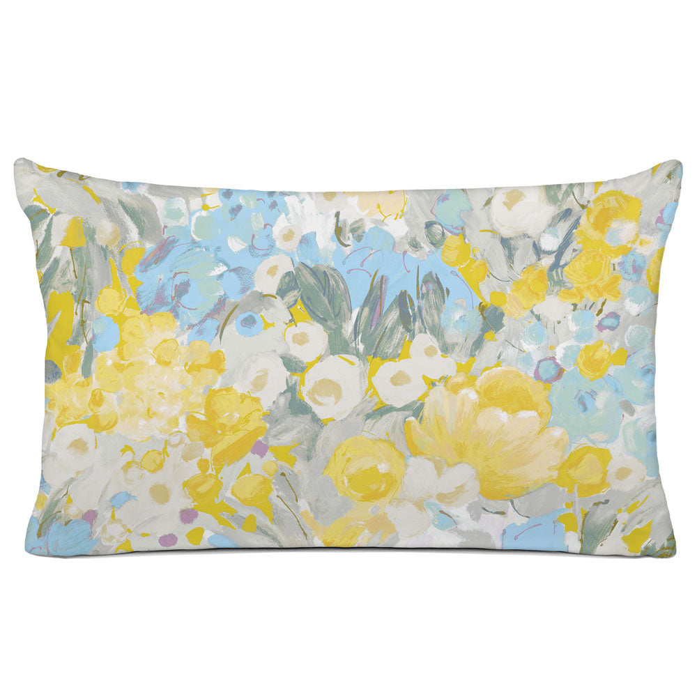 FLORAL PILLOW SHAM - BEDDING - DOMINIQUE SKY GREY GOLD - FLORAL DESIGN