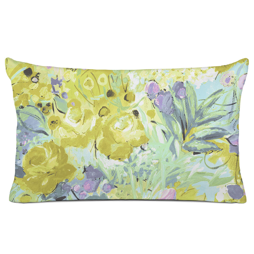FLORAL PILLOW SHAM - BEDDING - DUFY AQUA YELLOW PINK - FLORAL DESIGN