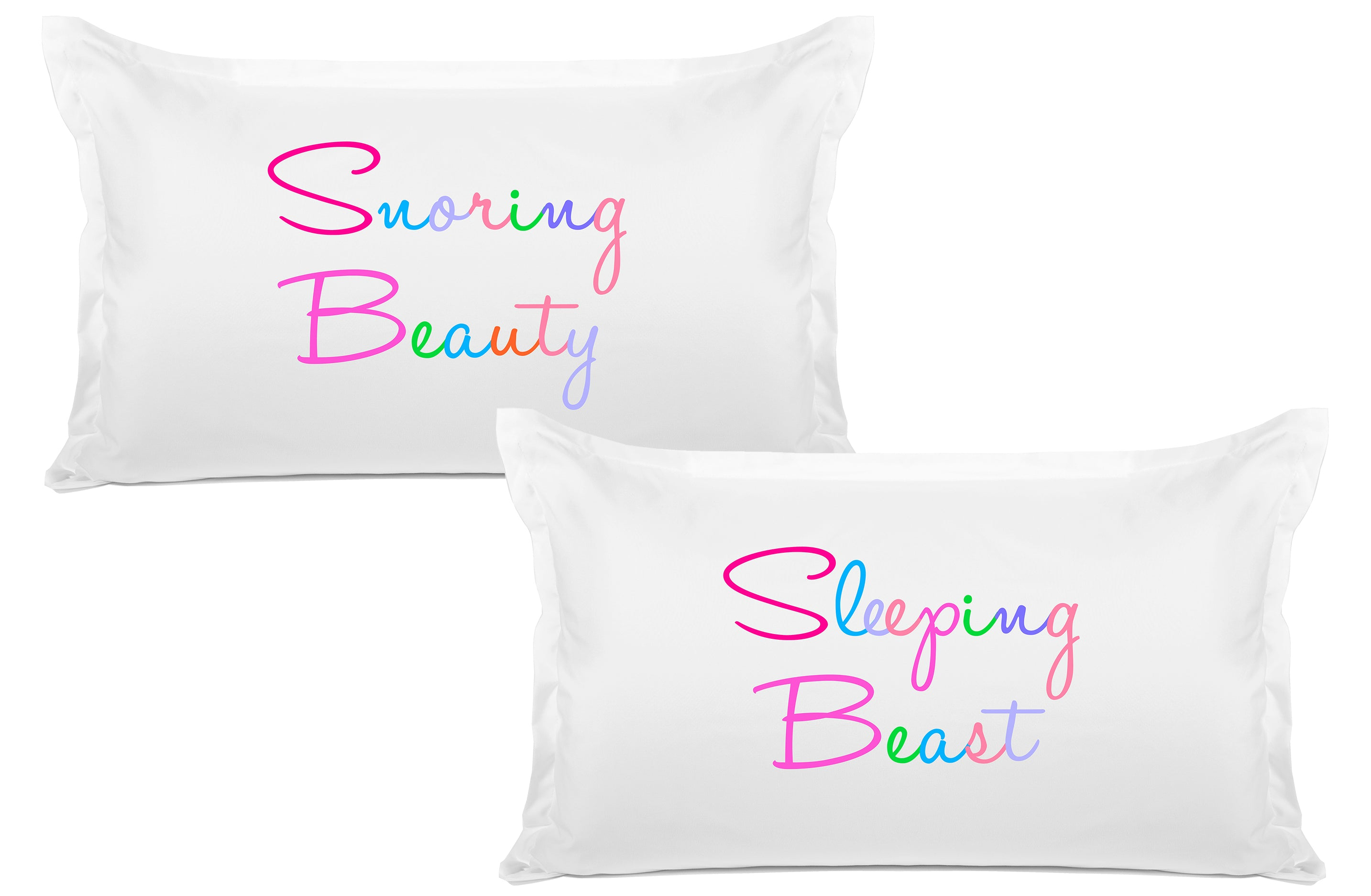 Snoring Beauty, Sleeping Beast - His & Hers Pillowcase Collection-Di Lewis