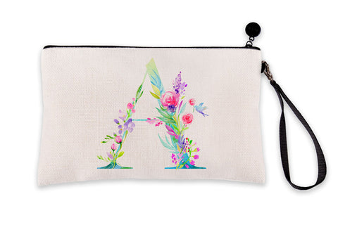 Floral Watercolor Monogram Letter A Makeup Bag