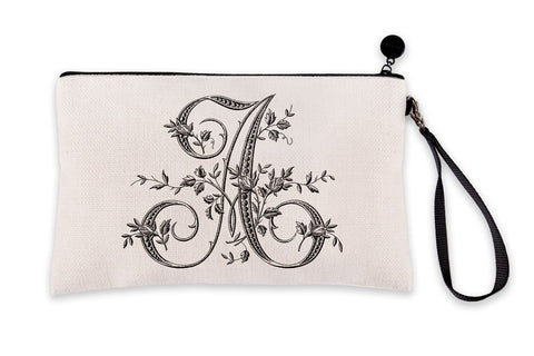 Vintage French Monogram Letter A Makeup Bag