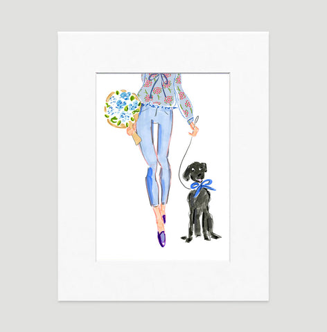 "Watercolor Fashion Illustration ""A Walk in the Park"" 