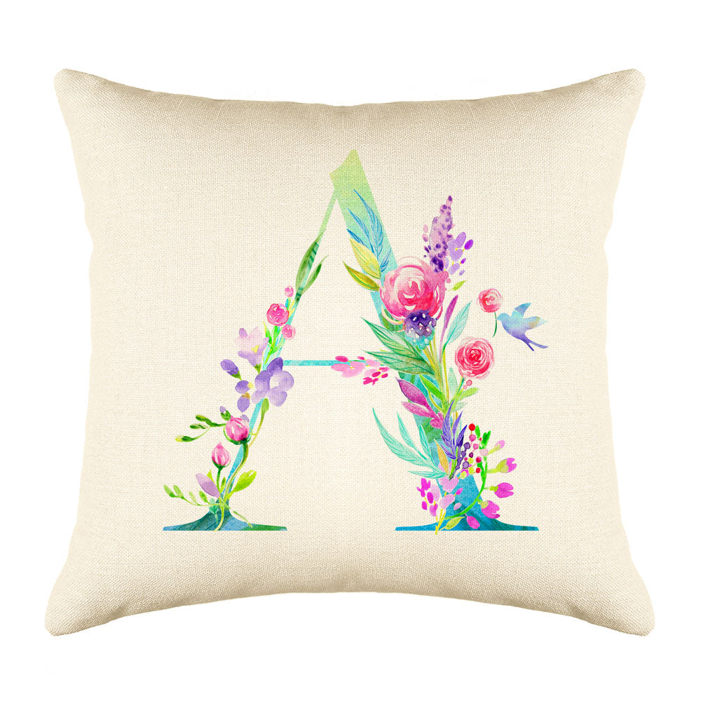 Floral Watercolor Monogram Letter A Throw Pillow Cover
