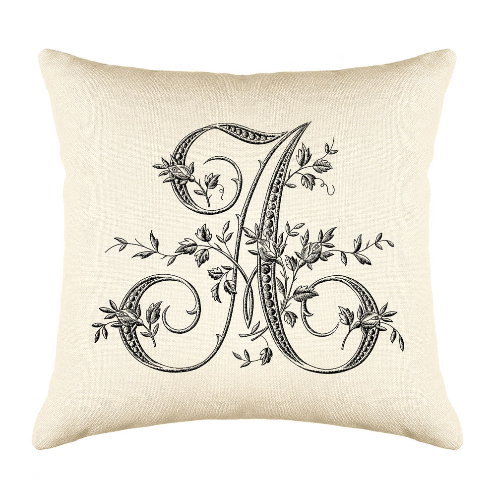 Vintage French Monogram Letter A Throw Pillow Cover