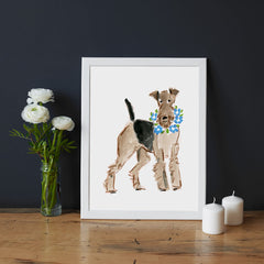 Atlas Airedale Art Print - Dog Illustrations Wall Art Collection-Di Lewis