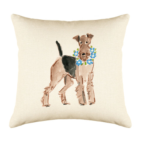 Atlas Airedale Throw Pillow Cover - Dog Illustration Throw Pillow Cover Collection