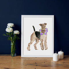 Alfie Airedale Art Print - Dog Illustrations Wall Art Collection-Di Lewis
