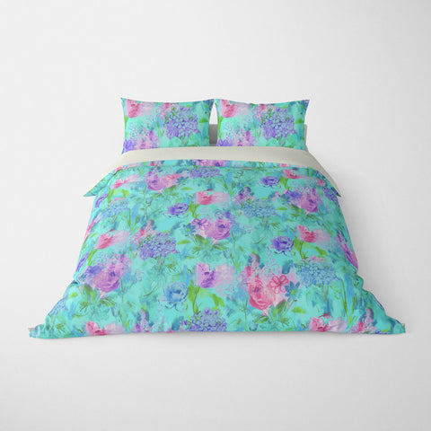 ARABELLA FLORAL DUVET COVER AQUA BLUE – DUVET COVER & PILLOW SHAM COLLECTION