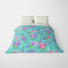 FLORAL DUVET COVERS & BEDDING SETS ARABELLA AQUA BLUE - FLOWER DESIGN - HYPOALLERGENIC