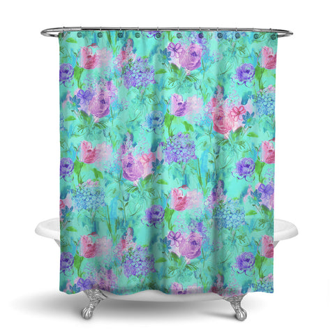 ARABELLA - FLORAL SHOWER CURTAIN - AQUA BLUE - FLOWER DESIGN