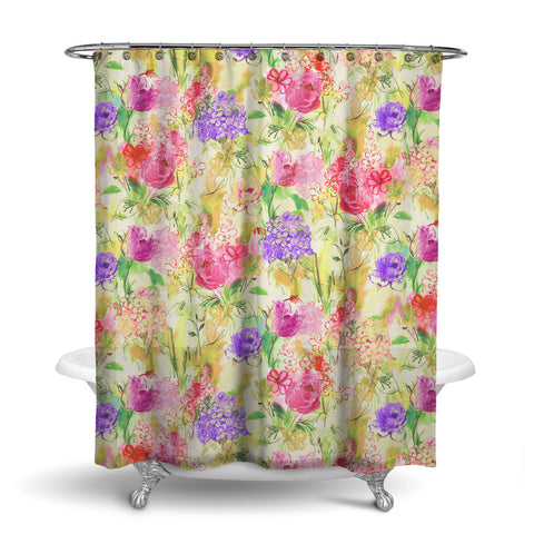 ARABELLA - FLORAL SHOWER CURTAIN - MULTI COLOR - FLOWER DESIGN