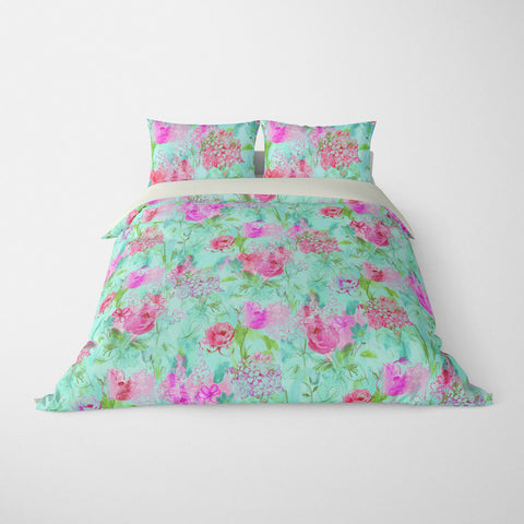 ARABELLA FLORAL DUVET COVER PINK GREEN – DUVET COVER & PILLOW SHAM COLLECTION