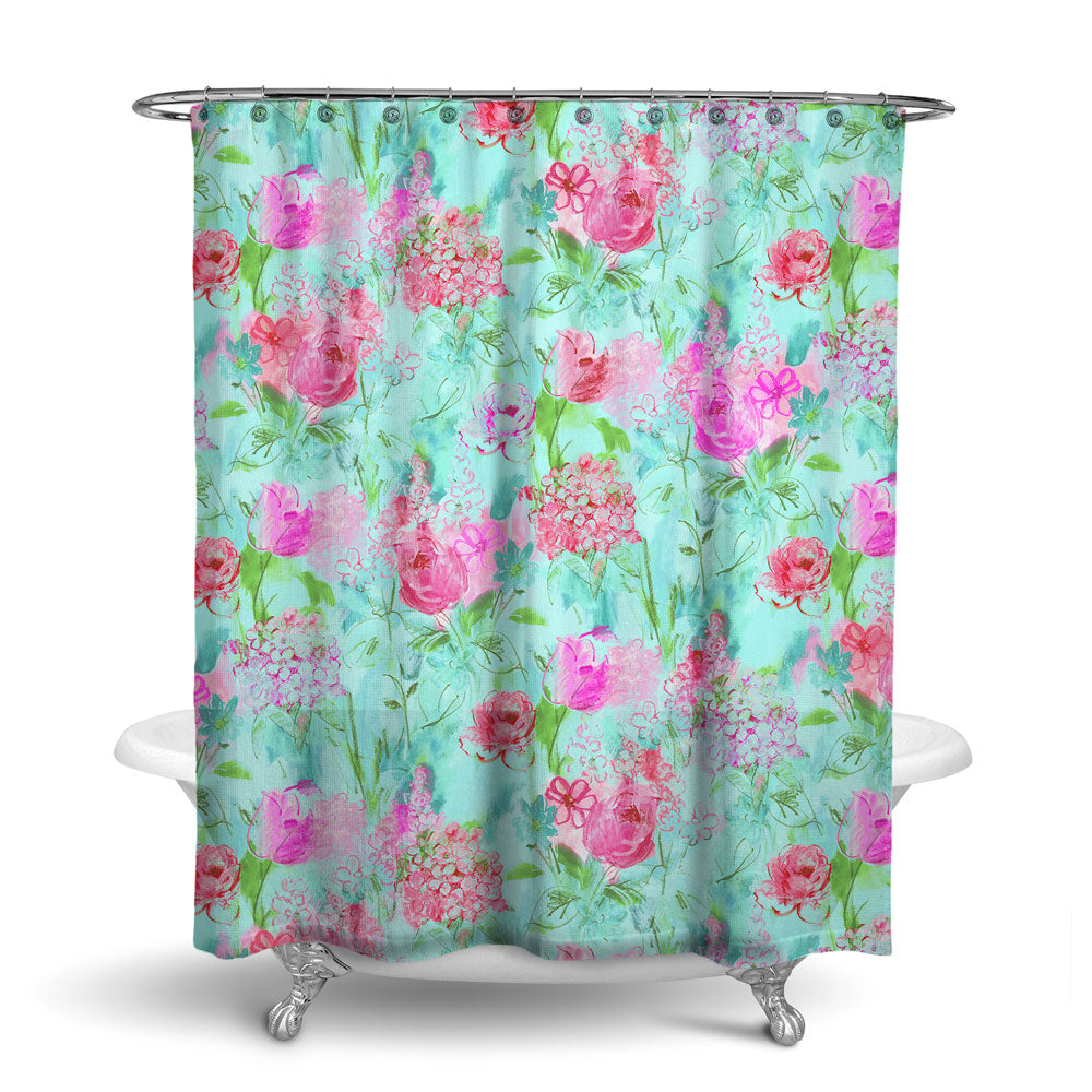 ARABELLA - FLORAL SHOWER CURTAIN - PINK GREEN - FLOWER DESIGN