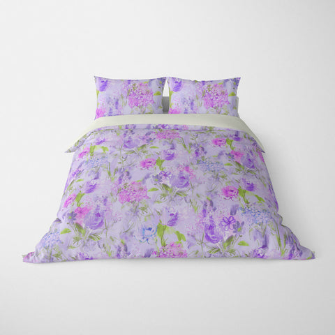 ARABELLA FLORAL DUVET COVER PURPLE GREEN – DUVET COVER & PILLOW SHAM COLLECTION