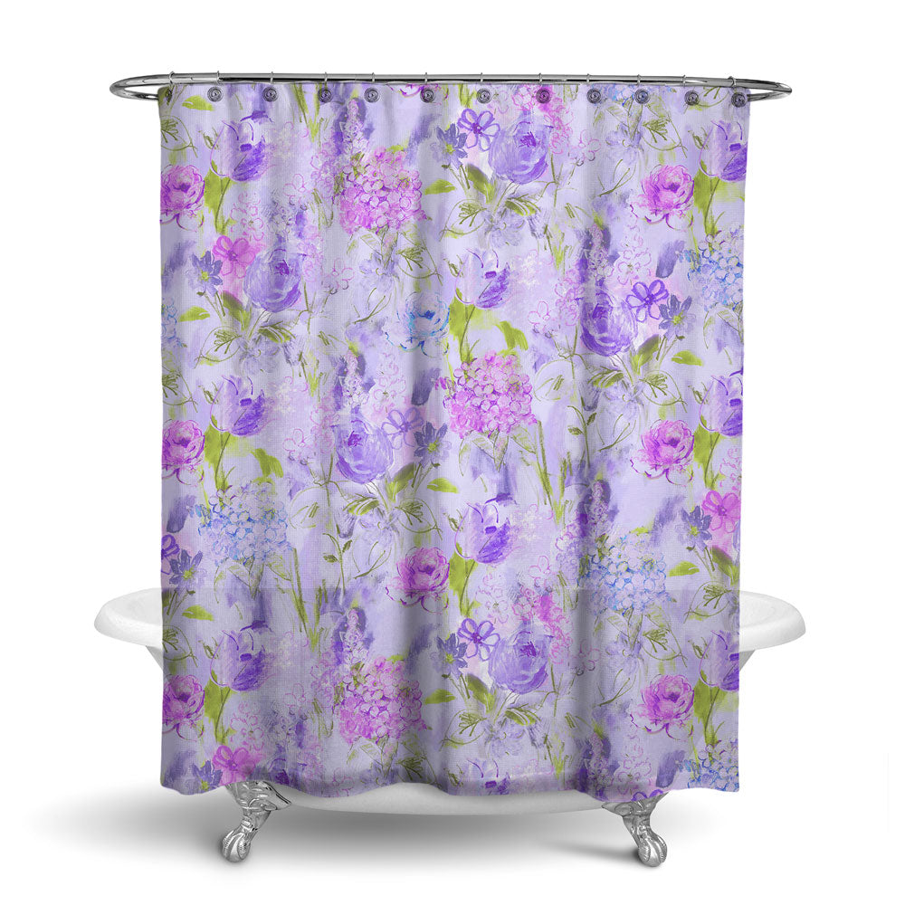ARABELLA - FLORAL SHOWER CURTAIN - PURPLE GREEN - FLOWER DESIGN