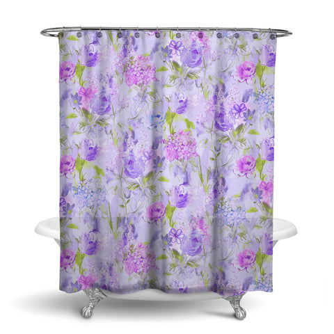 ARABELLA FLORAL SHOWER CURTAIN PURPLE GREEN – SHOWER CURTAIN COLLECTION