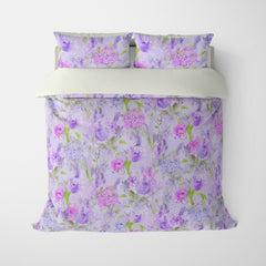 FLORAL DUVET COVERS & BEDDING SETS ARABELLA PURPLE GREEN - FLOWER DESIGN - HYPOALLERGENIC