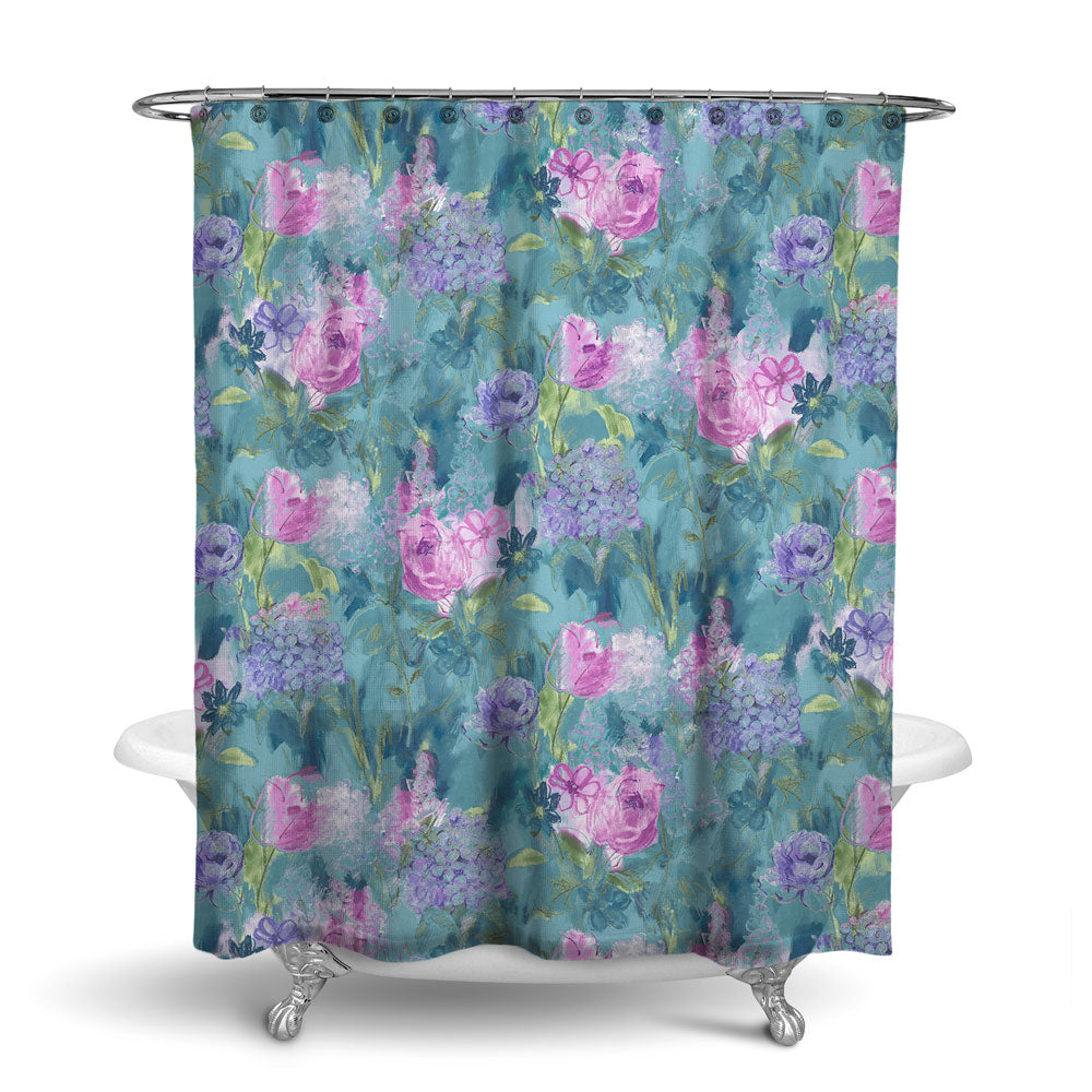 ARABELLA - FLORAL SHOWER CURTAIN - TURQUOISE PURPLE PINK - FLOWER DESIGN