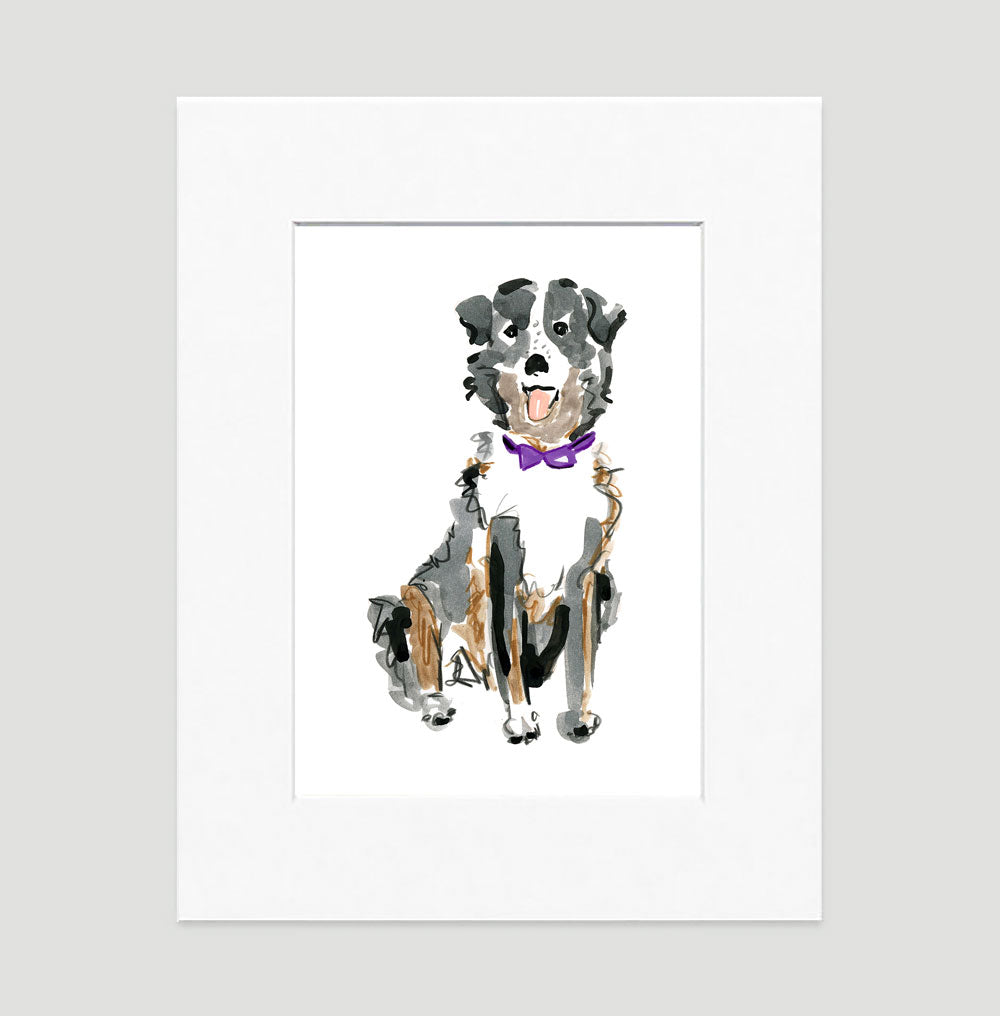 Sheldon Australian Shepard Art Print - Dog Illustrations Wall Art Collection-Di Lewis