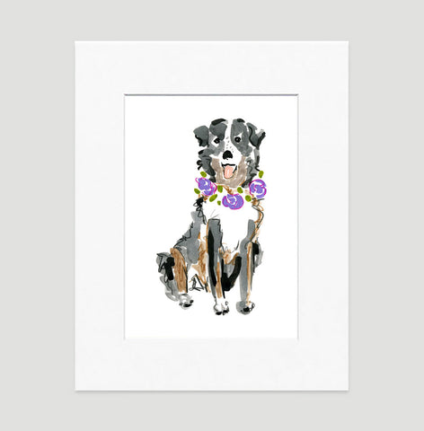 Suzie Australian Shepard Art Print - Dog Illustrations Wall Art Collection-Di Lewis