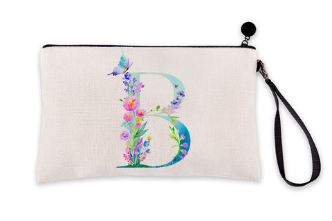 Floral Watercolor Monogram Letter B Makeup Bag