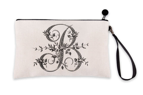 Vintage French Monogram Letter B Makeup Bag