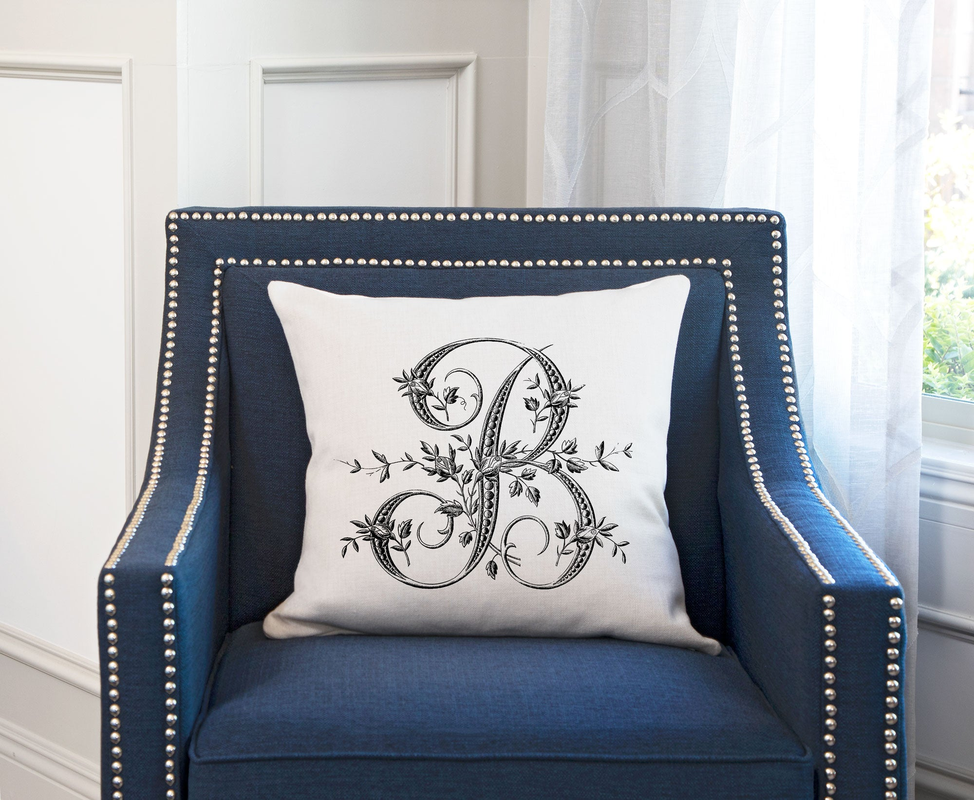 Di Lewis Throw Pillow Cover Vintage French Monogram Letter B