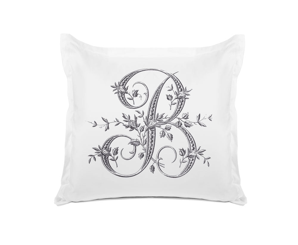 Vintage French Monogram Letter B Pillowcase