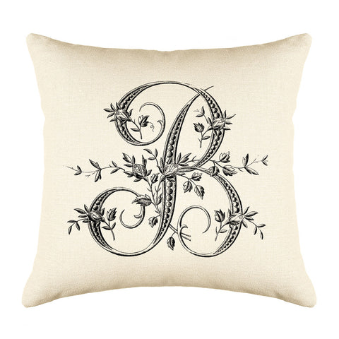 Vintage French Monogram Letter B Throw Pillow Cover