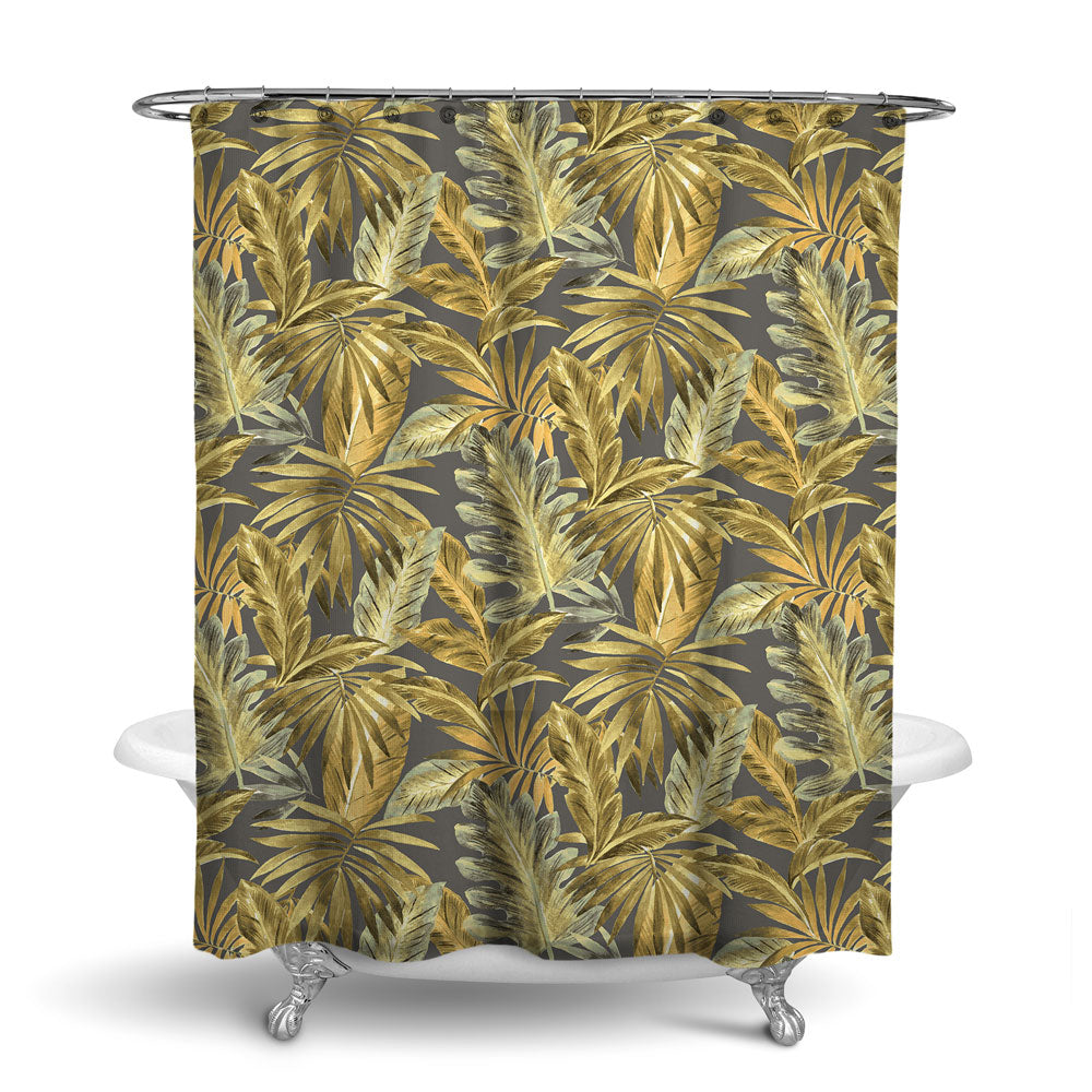 BAHAMA - TROPICAL SHOWER CURTAIN - BAMBOO - TROPICAL LEAVES DESIGN