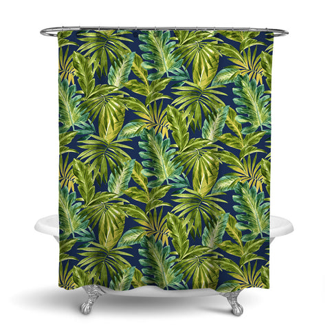 BAHAMA TROPICAL SHOWER CURTAIN INDIGO – SHOWER CURTAIN COLLECTION