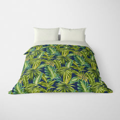 TROPICAL  DUVET COVERS & BEDDING SETS - BAHAMA INDIGO  - TROPICAL LEAVES  - HYPOALLERGENIC