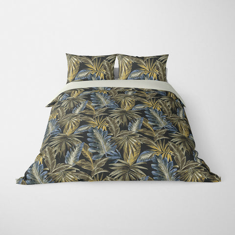 TROPICAL  DUVET COVERS & BEDDING SETS - BAHAMA MIDNIGHT  - TROPICAL LEAVES  - HYPOALLERGENIC