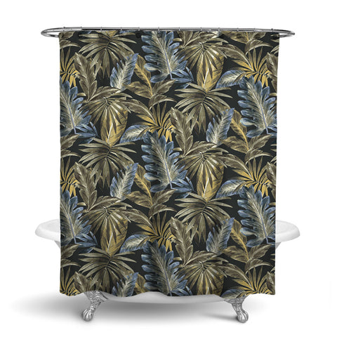 BAHAMA - TROPICAL SHOWER CURTAIN - MIDNIGHT - TROPICAL LEAVES DESIGN