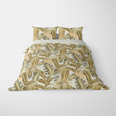 TROPICAL  DUVET COVERS & BEDDING SETS - BAHAMA NATURAL  - TROPICAL LEAVES  - HYPOALLERGENIC