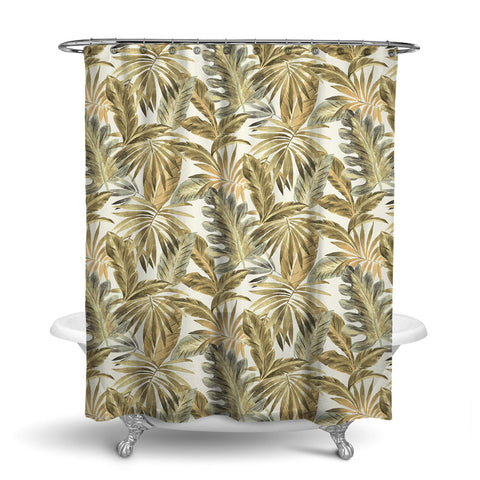 BAHAMA - TROPICAL SHOWER CURTAIN - NATURAL - TROPICAL LEAVES DESIGN