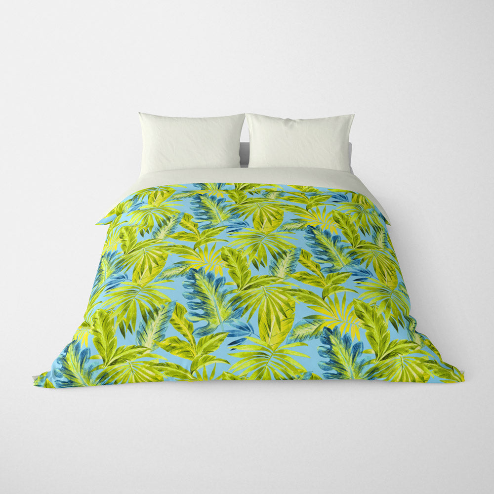 TROPICAL  DUVET COVERS & BEDDING SETS - BAHAMA OCEAN  - TROPICAL LEAVES  - HYPOALLERGENIC