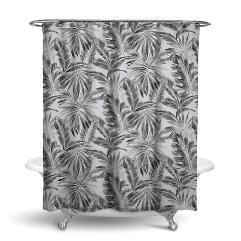 BAHAMA - TROPICAL SHOWER CURTAIN - SILVER - TROPICAL LEAVES DESIGN