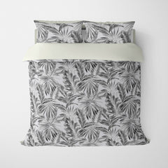 TROPICAL  DUVET COVERS & BEDDING SETS - BAHAMA SILVER  - TROPICAL LEAVES  - HYPOALLERGENIC