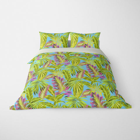 TROPICAL  DUVET COVERS & BEDDING SETS - BAHAMA SUMMER  - TROPICAL LEAVES  - HYPOALLERGENIC