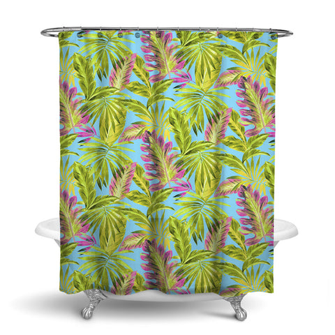 BAHAMA - TROPICAL SHOWER CURTAIN - SUMMER - TROPICAL LEAVES DESIGN