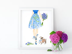 Ballerina in Blue Art Print