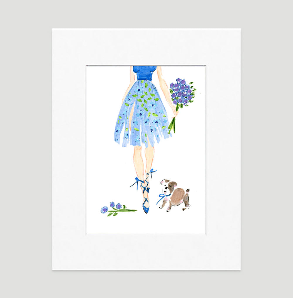 Ballerina In Blue Art Print - Fashion Illustration Wall Art Collection-Di Lewis
