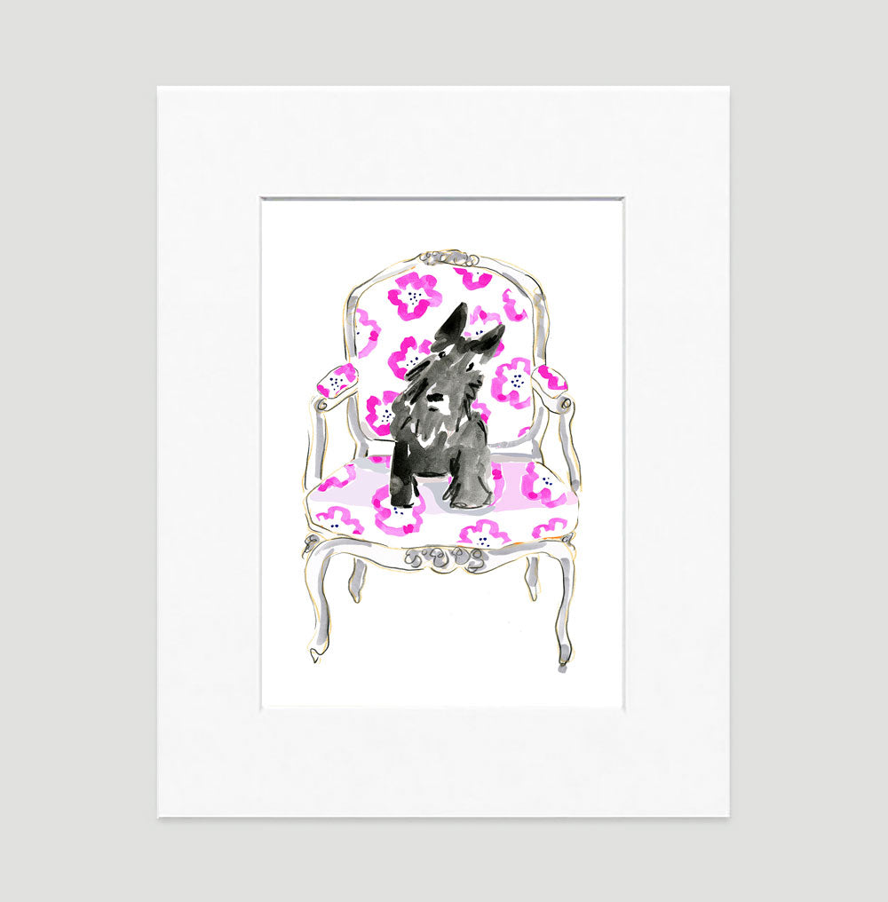 Barney The Scottish Terrier Art Print - Dog Illustrations Wall Art Collection-Di Lewis