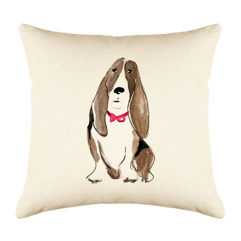 Buster Basset Throw Pillow Cover - Dog Illustration Throw Pillow Cover Collection-Di Lewis