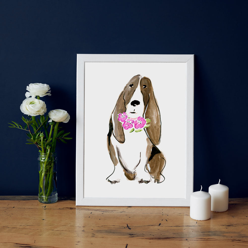 Bella Bassett Art Print - Dog Illustrations Wall Art Collection-Di Lewis