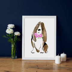 Bella Bassett Art Print - Dog Illustrations Wall Art Collection-Room Setting-Di Lewis